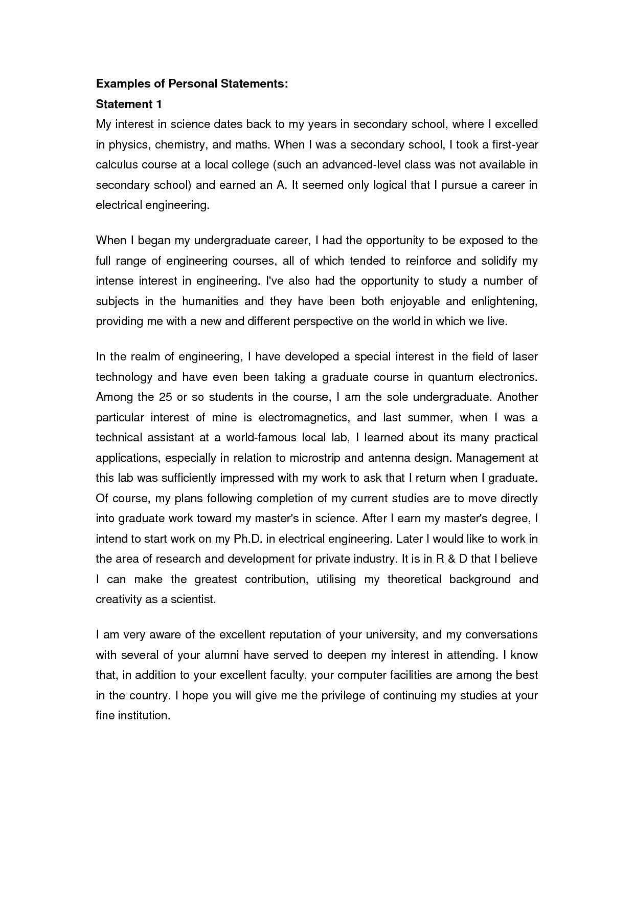 Personal Statement Essay For College
